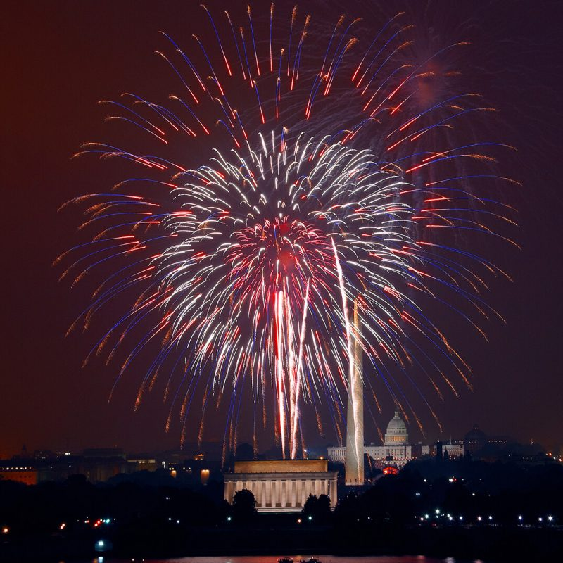 Fireworks display over the White House