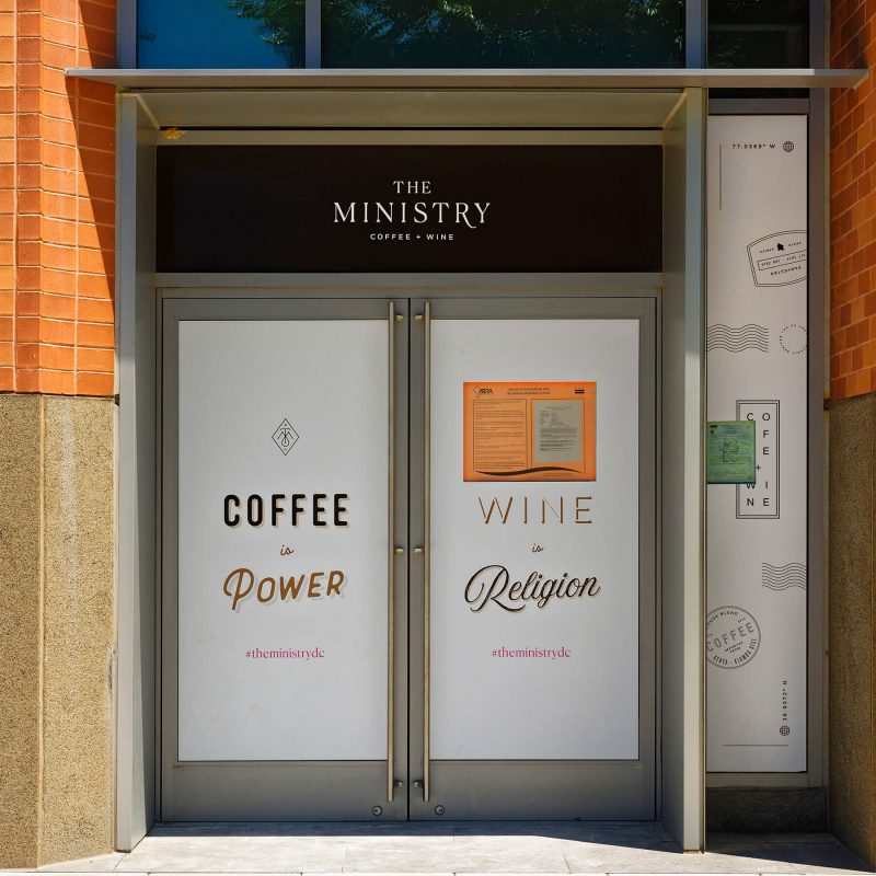 The Ministry Coffee and Wine entrance